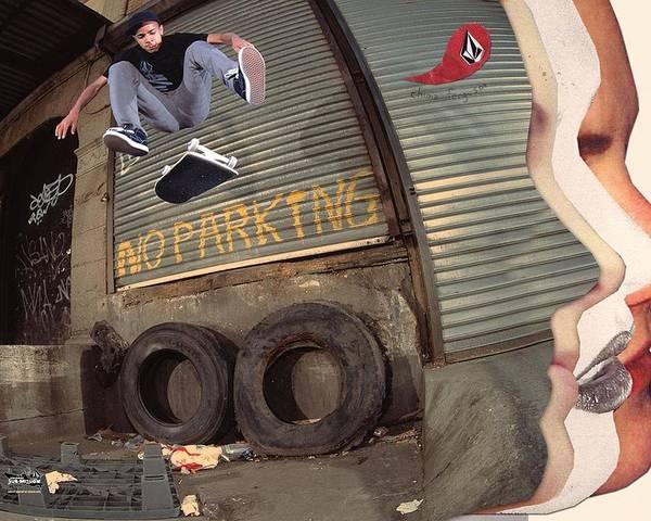 Celebrity Digital Art - Skateboarding by Maye Loeser