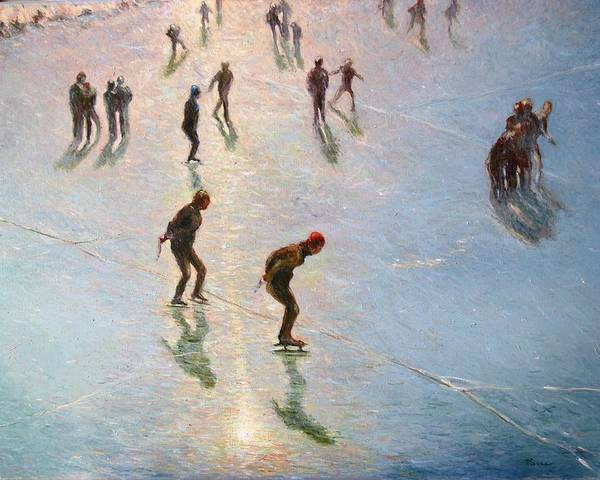 Painting - Skating In The Sunset  by Pierre Van Dijk