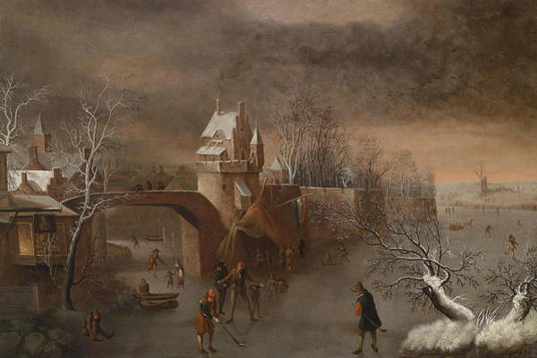 Wall Art - Painting - Skating Pleasures Near A Town Wall by Attributed to Anthonie Beerstraaten