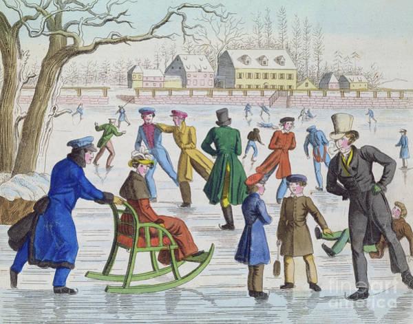 Wall Art - Painting - Skating Scene, 1832 by German School