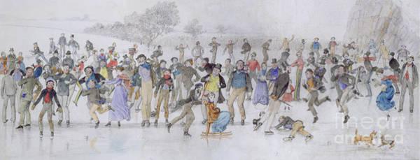Figure Skater Painting - Skating Scene by Charles Altamont Doyle