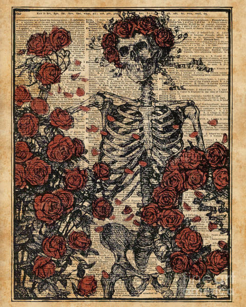 Wall Art - Digital Art - Skeleton Art, Skeleton With Roses Book Art,human Anatomy by Anna W