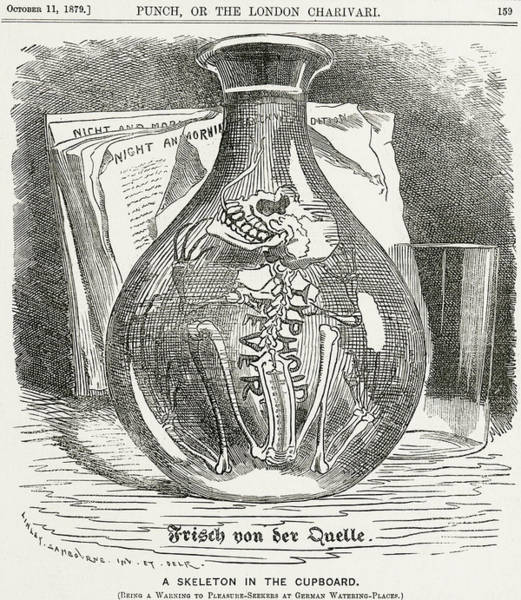 Wall Art - Drawing - Skeleton In Bottle Of Water 19th Century Depiction Of Typhoid by English School