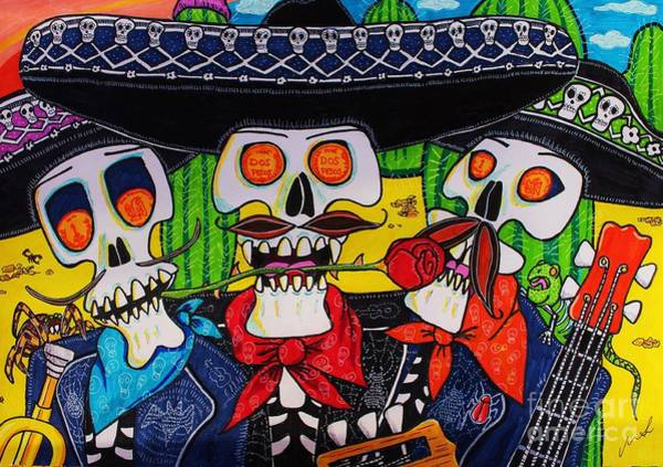 Mariachi Drawing - Skeleton Mariachi by Michael Smith