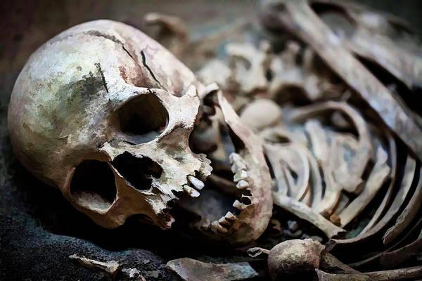 Buried Painting - Skeleton Skull  by Sezer Akdeniz