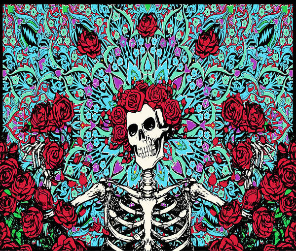 Wall Art - Digital Art - skeleton With Roses by Gd
