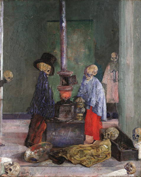 Wall Art - Painting - Skeletons Warming Themselves by James Ensor