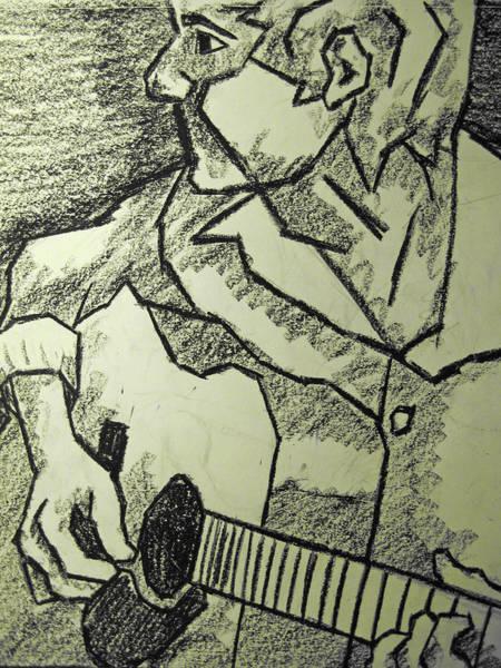 Oil Pastels Drawing - Sketch - Guitar Man by Kamil Swiatek