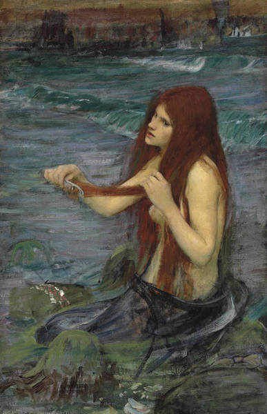 Wall Art - Painting - Sketch For A Mermaid by John William Waterhouse