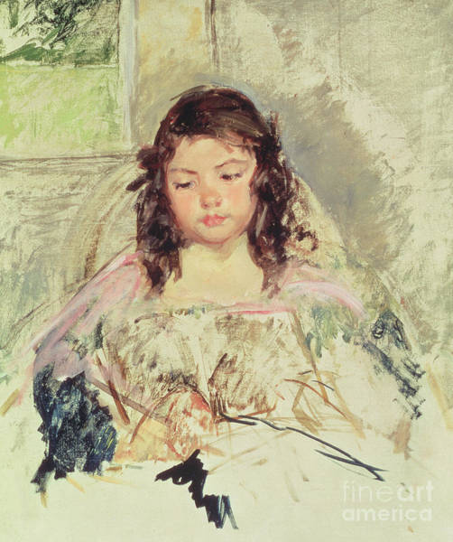 Rosy Wall Art - Painting - Sketch For Francoise In A Round-backed Chair, Reading Or A Girl In Pink by Mary Stevenson Cassatt