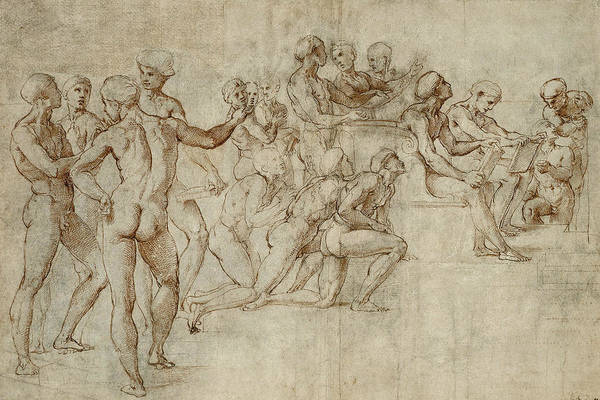Drawing - Sketch For The Lower Left Section Of The Disputa by Raphael