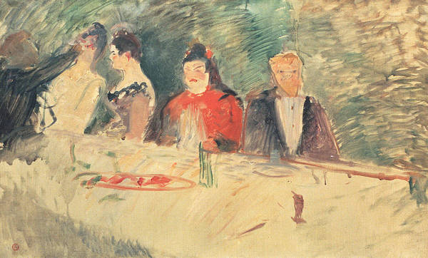 Draft Painting - Sketch For The Supper by Henri De Toulouse-Lautrec
