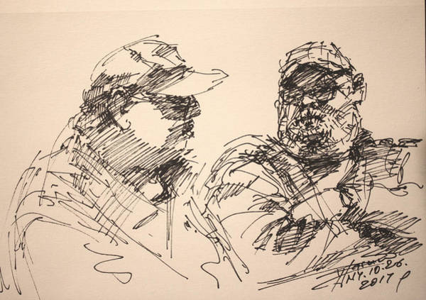 Wall Art - Drawing - Sketch Men At Tims by Ylli Haruni