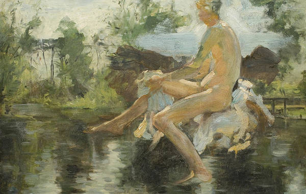 Adolescent Painting - Sketch Of A Seated Boy by Henry Scott Tuke