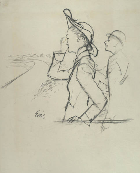 Race Horse Photograph - Sketch Of A Woman And Man Wearing Hats by Carl Oscar August Erickson