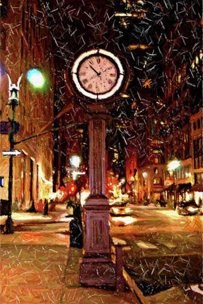Midtown Manhattan Digital Art - Sketch Of Midtown Clock In The Snow by Randy Aveille