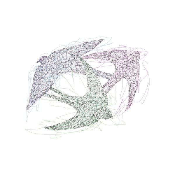 Drawing - Sketch Of Swallow Birds Design In Motion Symbolism Of Freedom And Unity by OLena Art Brand