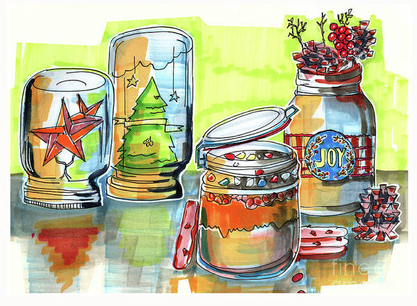Drawing - Sketch Of Winter Decorative Jars  by Ariadna De Raadt