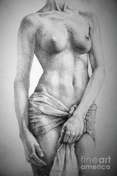 Drawing - Sketchbook Page 35 The Female Pencil Drawing by Dimitar Hristov