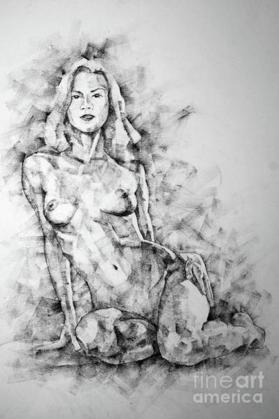 Drawing - Sketchbook Page 36 Female Sitting Pose Drawing by Dimitar Hristov