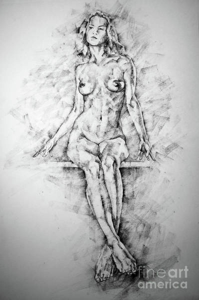 Drawing - Sketchbook Page 39 Drawing Female Full Body Sitting Front Pose by Dimitar Hristov