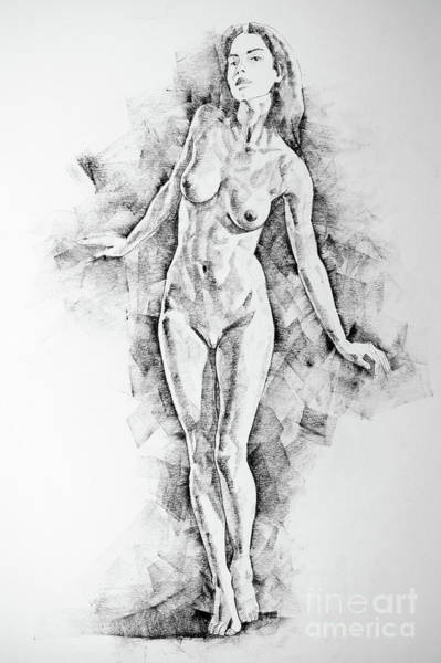 Drawing - Sketchbook Page 41 I Live Figure Drawing Model Standing Pose by Dimitar Hristov