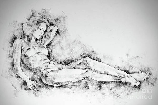 Drawing - Sketchbook Page 44 Whole Figure Drawing Girl Beautiful Light by Dimitar Hristov