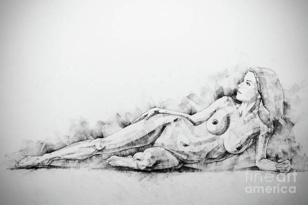 Drawing - Sketchbook Page 51 Figure Drawing Fine Art Woman Classical Pose by Dimitar Hristov