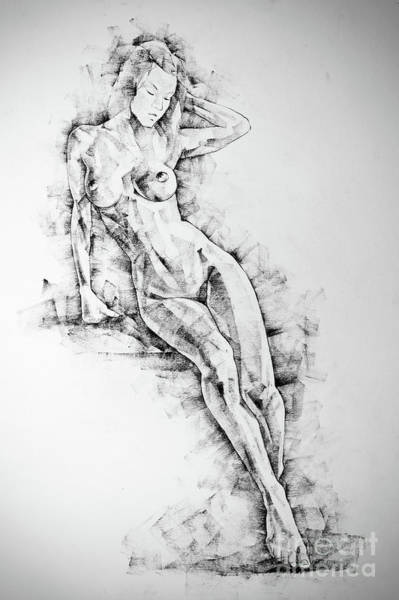 Drawing - Sketchbook Page 54 Beautiful Slim Young Woman Standing Pose Drawing by Dimitar Hristov