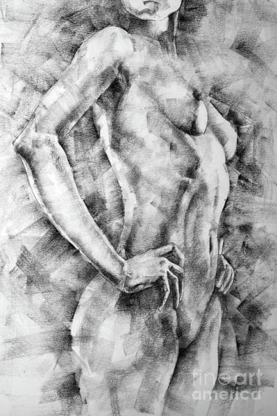 Drawing - Sketchbook Page 58 Woman With Hands On The Waist by Dimitar Hristov