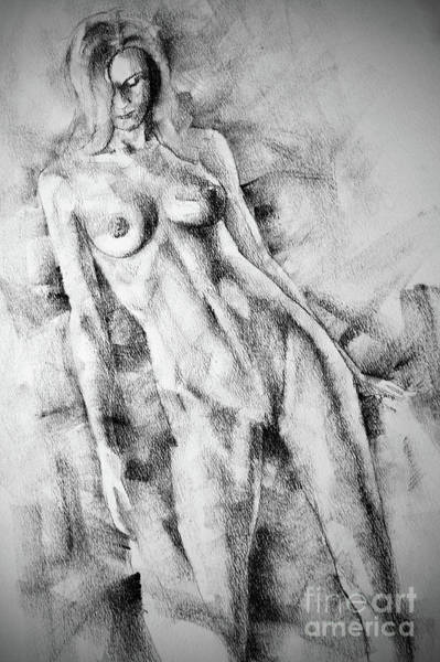 Drawing - Sketchbook Page 59 Lonely Girl Pose Drawing by Dimitar Hristov