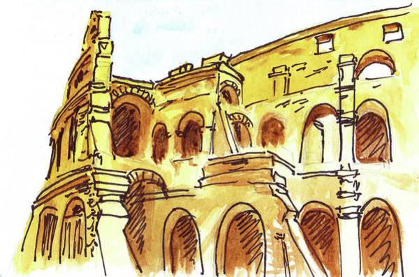 Sketching Painting - Sketching Italy Rome Colosseum Ruins by Irina Sztukowski