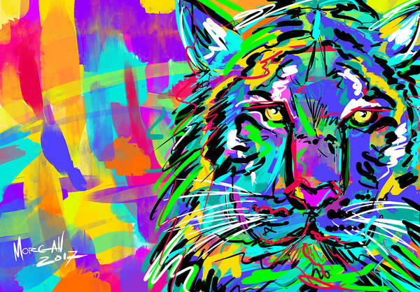 Indonesia Digital Art - Sketchy Tiger by Morgan Richardson