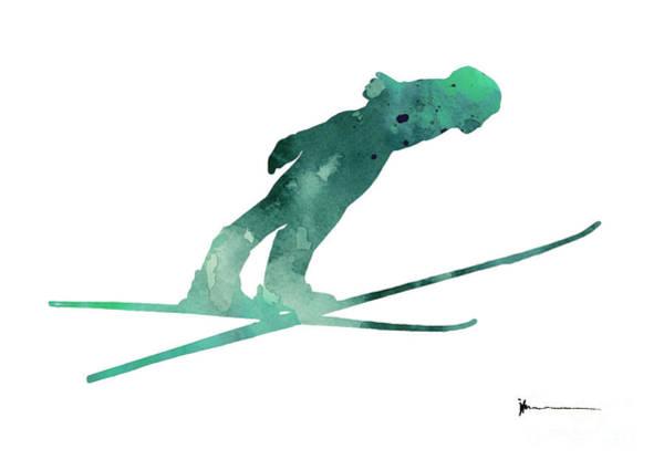 Violet Painting - Ski Jumper Minimalist Painting by Joanna Szmerdt