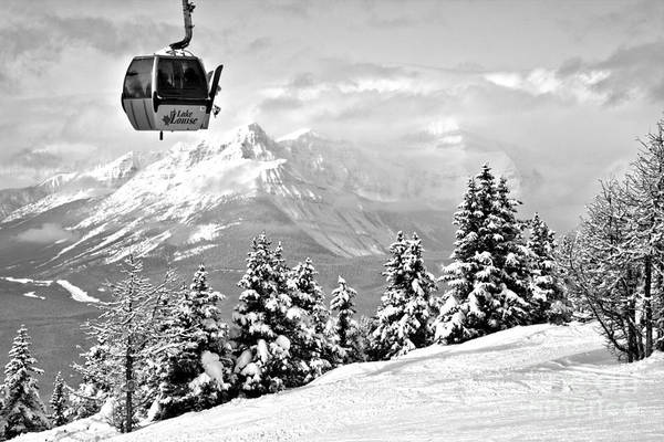 Photograph - Ski Louise Gondola In The Clouds Black And White by Adam Jewell