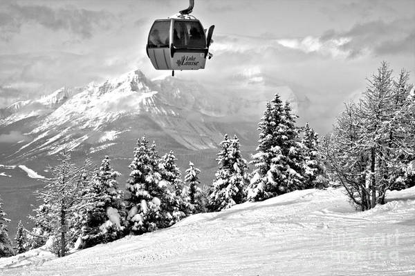 Photograph - Ski Louise Gondola In The Sky Black And White by Adam Jewell