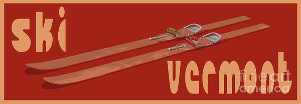 Red Sky Digital Art - Ski Vermont by Edward Fielding