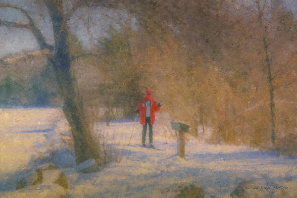 Painting - Skier On Pond Edge Trail At Borderland by Bill McEntee