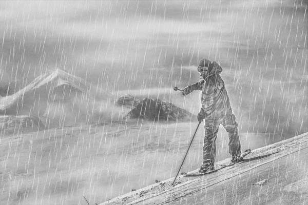 High Jump Painting - Skier by Svetlin Yosifov
