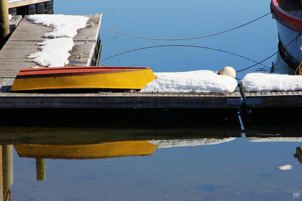 Photograph - Skiff  Dockline And Snow by John Meader