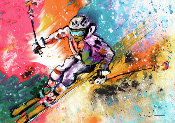 Painting - Skiing 09 by Miki De Goodaboom