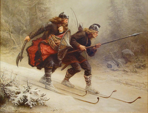 Wall Art - Painting - Skiing Birchlegs Crossing The Mountain With The Royal Child by Knud Bergslien