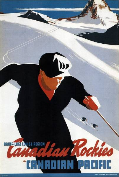 Wall Art - Mixed Media - Skiing In The Canadian Rockies - Canadian Pacific - Retro Travel Poster - Vintage Poster by Studio Grafiikka