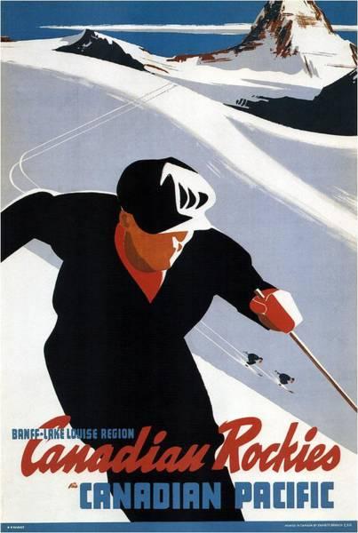 Canadian Rockies Wall Art - Mixed Media - Skiing In The Canadian Rockies - Canadian Pacific - Retro Travel Poster - Vintage Poster by Studio Grafiikka