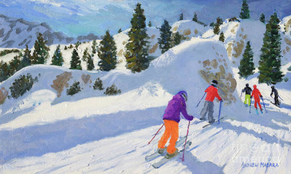 Skiing Painting - Skiing, Rock City, Selva Gardena, Italy by Andrew Macara