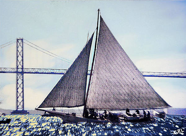 Painting - Skipjacks Racing Chesapeake Bay Maryland Contemporary Digital Art Work by G Linsenmayer