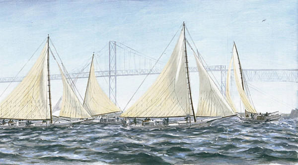 Painting - Skipjacks Racing Chesapeake Bay Maryland Detail by G Linsenmayer