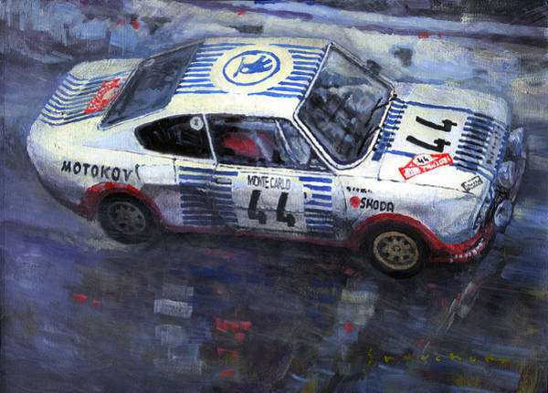 Wall Art - Painting - Skoda 130 Rs #44 Monte Carlo 1977 by Yuriy Shevchuk
