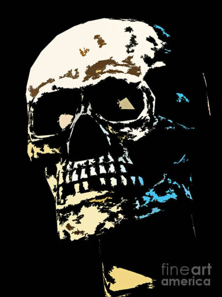 Skull Against A Dark Background Art Print