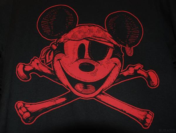 Portriat Photograph - Skull And Bones Mickey In Red by Rob Hans